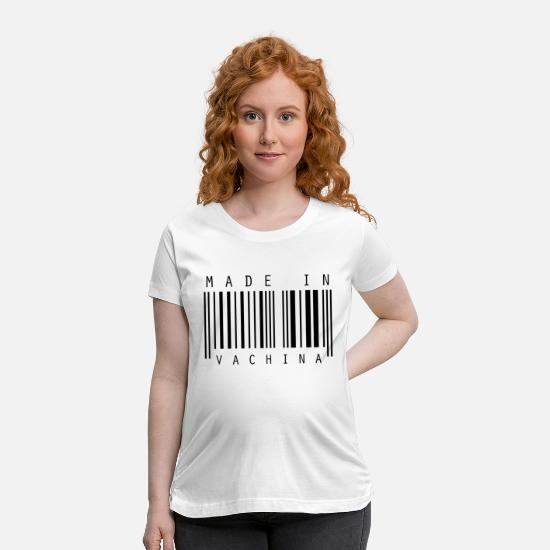 Adult T-Shirts - Barcode Made in Vachina - Maternity T-Shirt white