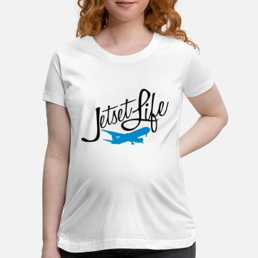 Jetset jetset airplane circle round silhouette world trav - Maternity T-Shirt