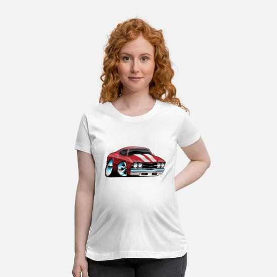 Mod T-Shirts - Classic American Muscle Car Cartoon - Maternity T-Shirt white