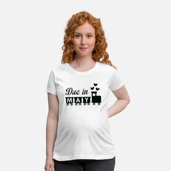 Pregnancy T-Shirts - Due In May - Maternity T-Shirt white