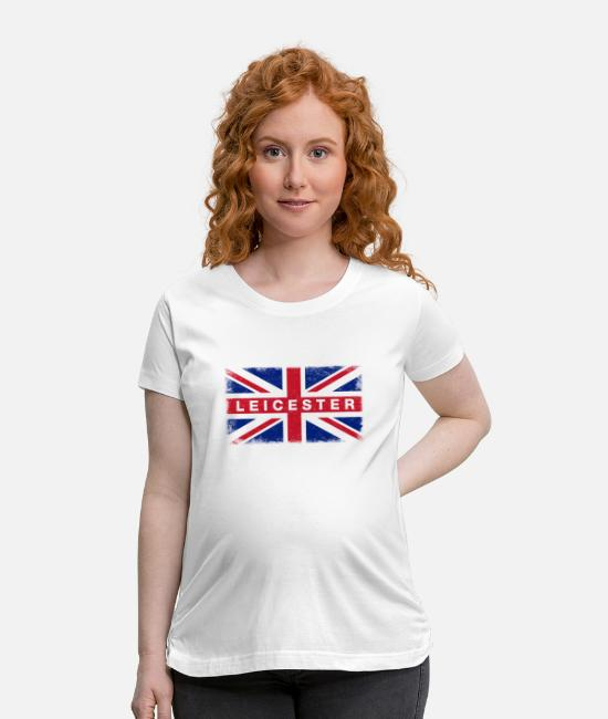 British Flag T-Shirts - Leicester Shirt Vintage United Kingdom Flag T-Shir - Maternity T-Shirt white