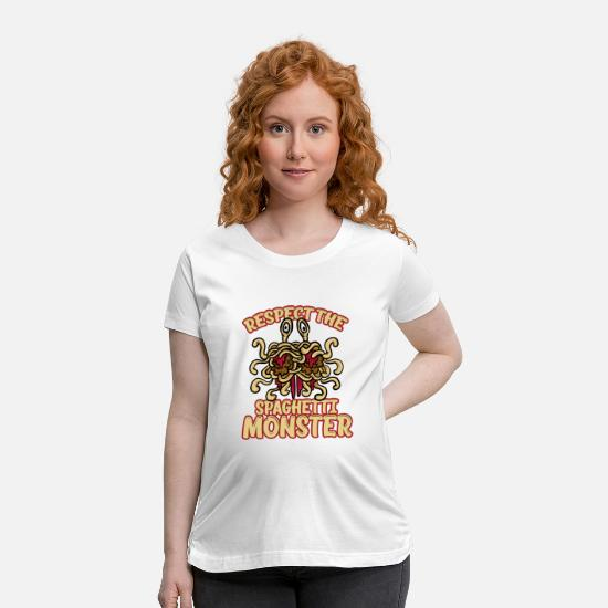 Spaghetti T-Shirts - Respect The Spaghetti Monster Funny God Unbeliever - Maternity T-Shirt white