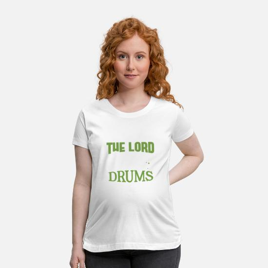 Drum T-Shirts - Drummer and Jesus Drums Drumming Drumsticks Gift - Maternity T-Shirt white