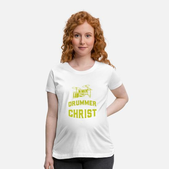 Jesus T-Shirts - Drummer and Jesus Drums Drumming Drumsticks Gift - Maternity T-Shirt white