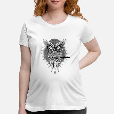 Buddhist Angry Owl Mandala Bird Night - Maternity T-Shirt