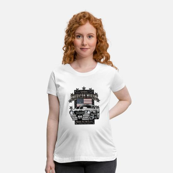 Car T-Shirts - Classic American Muscle Car - Maternity T-Shirt white
