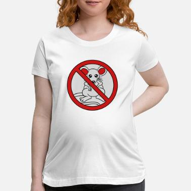 Crossed prohibited sign crossed out no mouse sweet cute li - Maternity T-Shirt