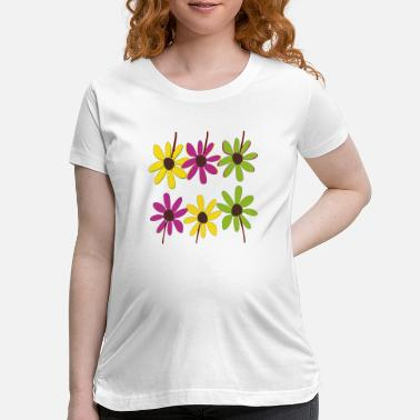 Colorful Hand Drawn Flower Petals - Maternity T-Shirt