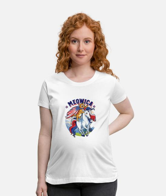 Funny 4th Of July T-Shirts - Meowica Cat Unicorn 4th of July - Maternity T-Shirt white