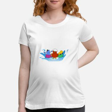 Baby chicks are playing in the water - Maternity T-Shirt