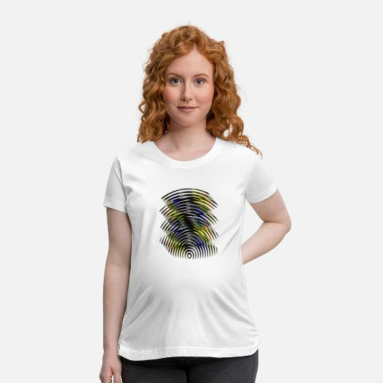 Art T-Shirts - Yellow & black & blue contrast lines - Maternity T-Shirt white