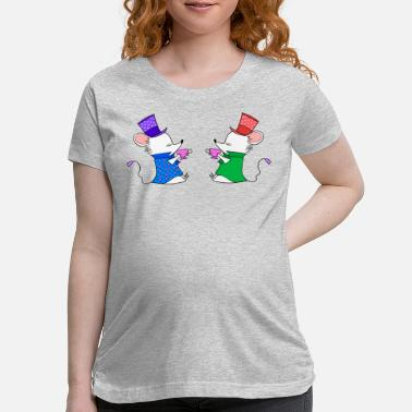 Comic Tea lovers. Cute funny white mice drinking tea. - Maternity T-Shirt