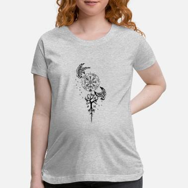 End Of The World Nordic Symbolism - Runes, Vevisir, Ravens - Maternity T-Shirt