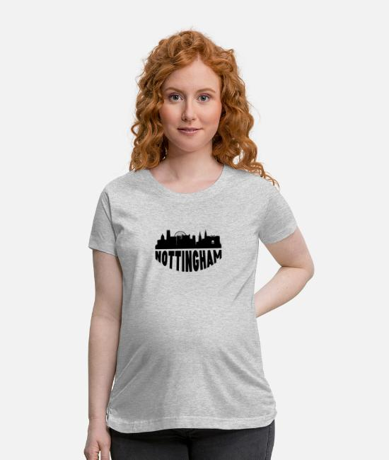 Nottingham T-Shirts - Nottingham England Cityscape Skyline - Maternity T-Shirt heather gray