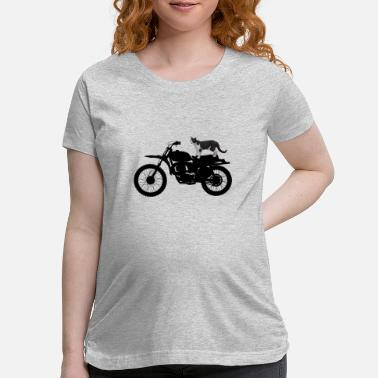 Motorcycle Cat on Motorcycle - Maternity T-Shirt