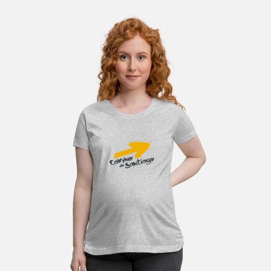 Gift Idea T-Shirts - Yellow arrow Camino de Santiago Design shirt - Maternity T-Shirt heather gray
