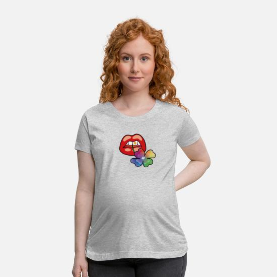 Lips T-Shirts - Red Rainbow Clover Mouth Classic - Maternity T-Shirt heather gray