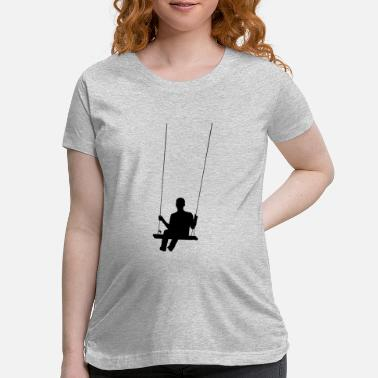 Swinging Boy On Swing Silhouette - Maternity T-Shirt