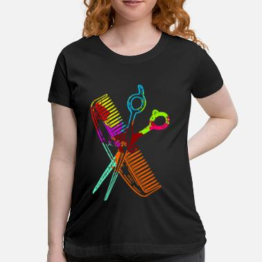 Comb Comb and scissors hairdresser gift for haircut - Maternity T-Shirt