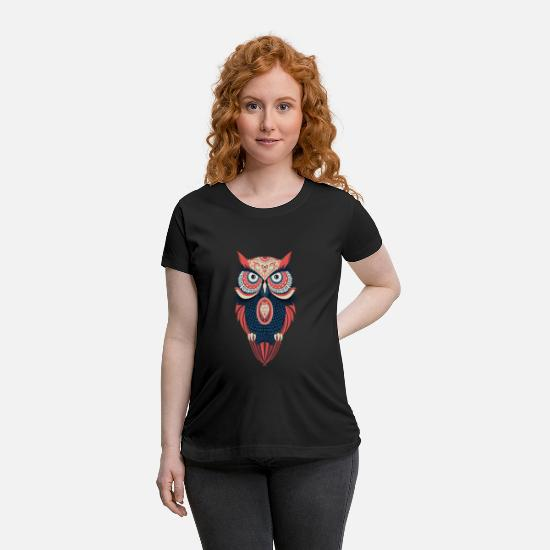 Funny Animals T-Shirts - Night Owl Gift Present - Maternity T-Shirt black
