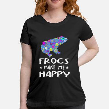 Frogs Make Me Happy Cute Floral Gift Ideas - Maternity T-Shirt