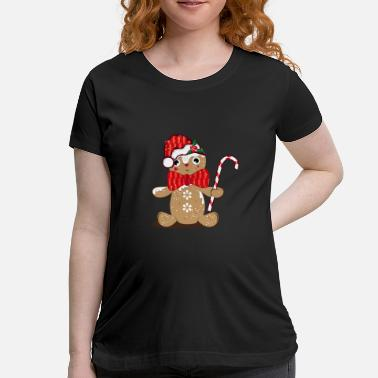 Man Candy funny gingerbread man with candy cane - Women's Maternity T-Shirt