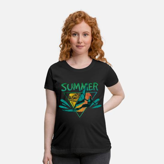 Cozy T-Shirts - Vacation Surfing - Maternity T-Shirt black