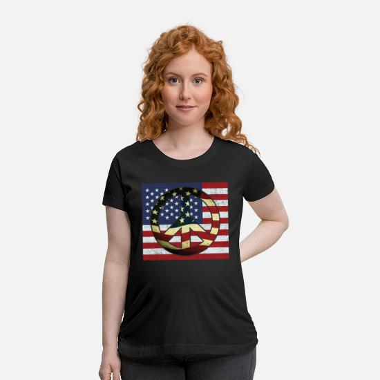 Sign T-Shirts - American Flag Peace Sign 4th of July Celebration - Maternity T-Shirt black