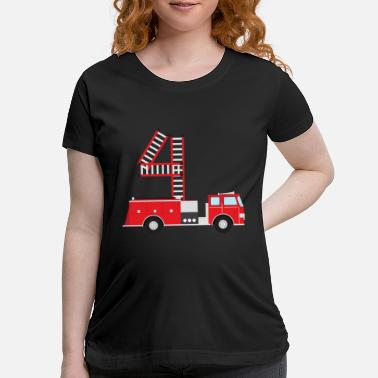 4th Birthday 4th Birthday Firetruck - Maternity T-Shirt