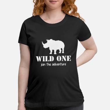 Crocodile Wild One - join the adventure - Rhino - Elephant - Maternity T-Shirt