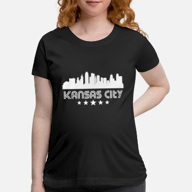 Kansas Retro Kansas City Skyline - Maternity T-Shirt
