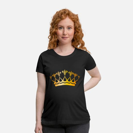 Golden Crown T-Shirts - Vip golden royal crown gold king monarch fun image - Maternity T-Shirt black