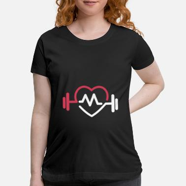 Logo fitness logo - I love - heartbeat - Maternity T-Shirt