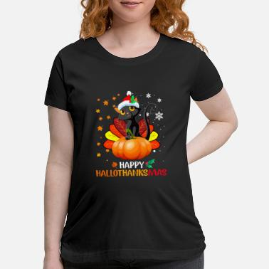 Black Cat Halloween And Merry Christmas Happy Hall - Maternity T-Shirt