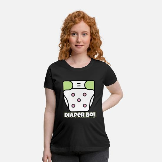 Abdl T-Shirts - Diaper Boi Green White Design - Maternity T-Shirt black