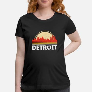 Detroit Classic Retro Detroit City Skyline Vintage Shirt - Maternity T-Shirt
