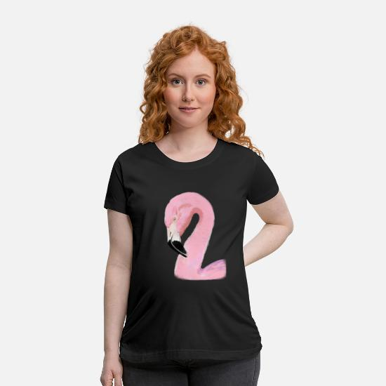 Lovely T-Shirts - Lovely Pink Watercolor Flamingo - Maternity T-Shirt black