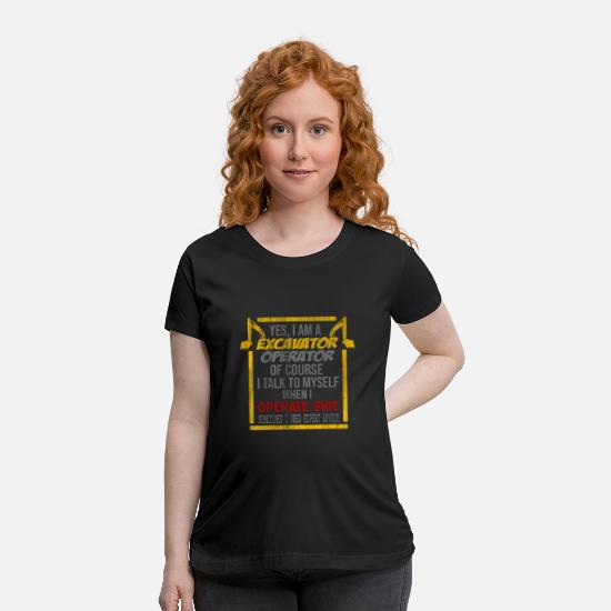 Gift Idea T-Shirts - Excavator Dredger Concentration - Maternity T-Shirt black