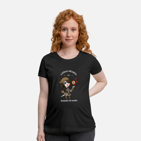 Crawler T-Shirts - Girl Thief I steal Hearts Anime T Shirt - Maternity T-Shirt black