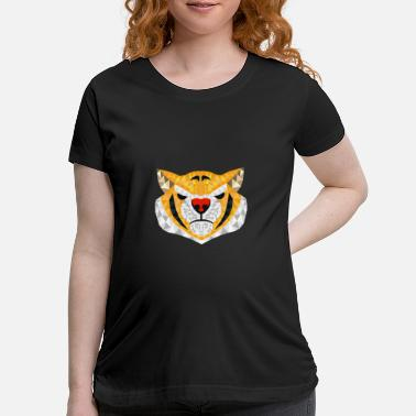 Safari Wild Tiger Jungle Safari Polygon Zoo Animal Gift - Maternity T-Shirt