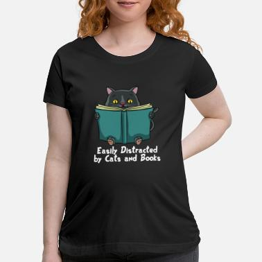 dd6399cc Cat Read Book Books Lovers Reading Kitty Cute Gift - Maternity T-Shirt