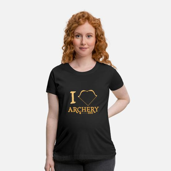 Heart T-Shirts - I love archery | archer Bow and Arrow Sports - Maternity T-Shirt black