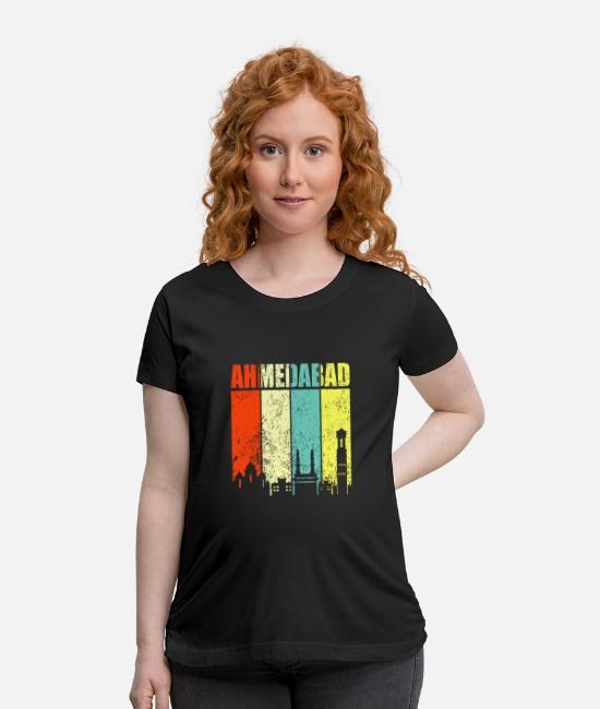 Ahmedabad T-Shirts - Ahmedabad Hyderabad India - Maternity T-Shirt black