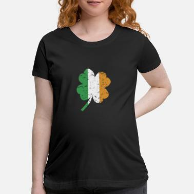 Leprechaun Cloverleaf with Irish national flag - Good luck - Maternity T-Shirt
