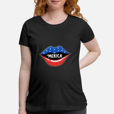 Lipgloss USA Red White and Blue Liüps Independence Day Gift - Maternity T-Shirt