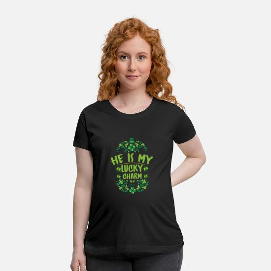 Boobs T-Shirts - He is my lucky charm - Maternity T-Shirt black