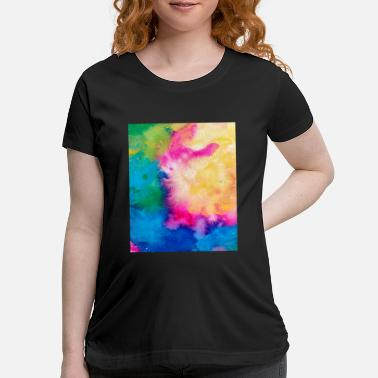 Teenager Abstract Colorful Pattern Yellow Pink Blue - Maternity T-Shirt