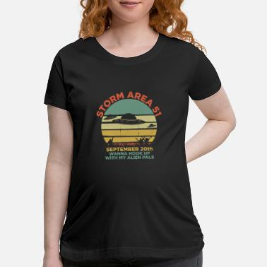 Ufo Storm Area 51 UFO Alien Abduction Retro Cool Gift - Maternity T-Shirt