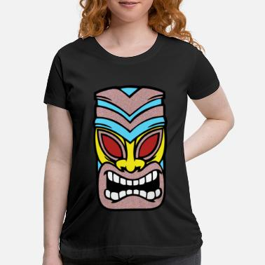 Super Tiki mask Hawaii brown blue - Maternity T-Shirt