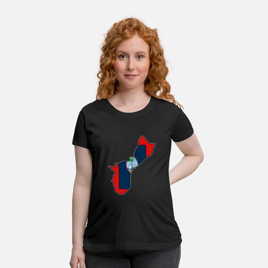 Geography T-Shirts - Guam Flag Map - Maternity T-Shirt black